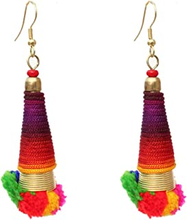 Kaizer Jewelry Pin Pom Fring Tassel Earrings Celebrity Inspired DS-03
