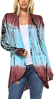 Women Fashion Tie-Dye Hi-Low Open Cardigan Long Sleeve Asymmetric Coat