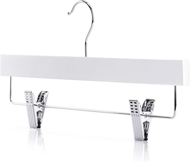 Hangerworld 5 Perchas 36cm Madera Recta Lacado Blanco con Pinzas de Metal para Faldas y Pantalones