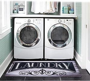 U'Artlines Rubber Rug for Laundry Room Floor Non-Slip Mat Durable Rubber Carpet Waterproof Kitchen Rugs(20''x48'', Gray)