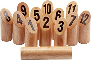 GSE Games & Sports Expert Premium Oak Hardwood Kubb/Molkky Yard Throwing Game Set. Outdoor Backyard Lawn Toss Game for Kids & Adults