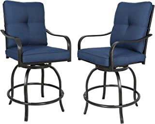 Ulax furniture Outdoor 2-Piece Counter Height Swivel Bar Stools High Patio Dining Chair Set, Navy (Set of 2)