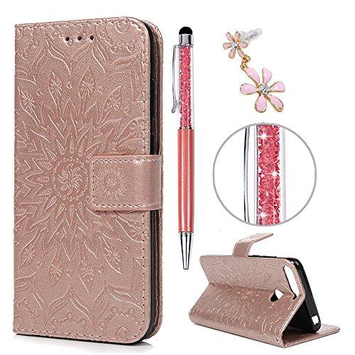 iAdvantec Huawei Y6 2018 / Huawei Honor 7A Hülle Hülle, Filp PU Leder Wallet Handyhülle Flipcase : Bookstyle Sonnenblume Tasche Schutzhülle in Roségold + Pen + Plug