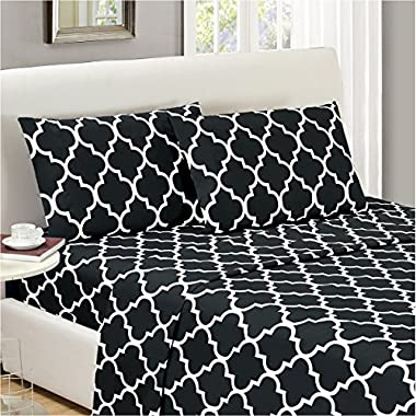 Mellanni Bed Sheet Set Full-Black - HIGHEST QUALITY Brushed Microfiber Printed Bedding - Deep Pocket, Wrinkle, Fade, Stain Resistant - Hypoallergenic - 4 Piece (Full, Quatrefoil Black)