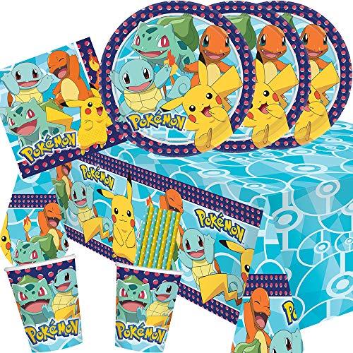 spielum 41-teiliges Party-Set Pokemon - Teller Becher Servietten Tischdecke Trinkhalme für 8 Kinder