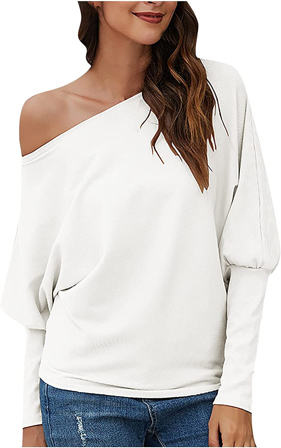 Vuijdayr Women's Sexy Sweater Off Shoulder Long Sleeve Solid Casual Comfortable Loose Sweater Pullover Knit Jumper