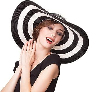 Mecca Women Big Brim Floppy Sun Beach Hat Black & White Striped Straw Hat WSH001