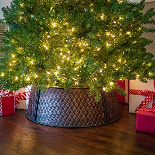 PINE AND PAINT LLC XL Metal Christmas Tree Collar (Brown Basket Emboss)
