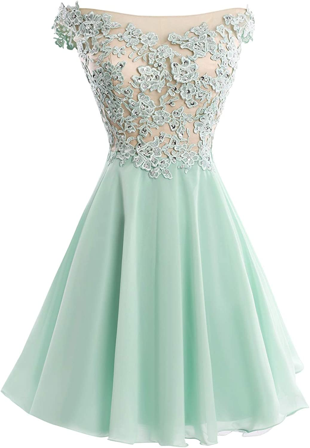 Dasior Women's A Line Short Prom Homecoming Dress with Lace Appliques