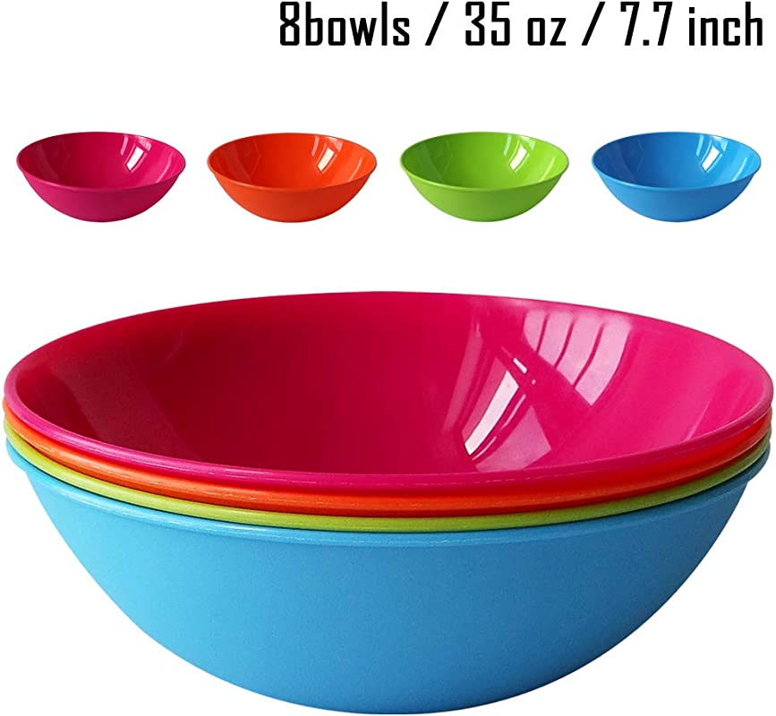 8pcs 35 Ounce Microwave Dishwasher Safe PP Bowls Cereal Bowls Snack Bowls Lightweight Unbreakable Non Toxin Kids Toddler Adult 8 Inch 4 Assorted Colors PP Large 8