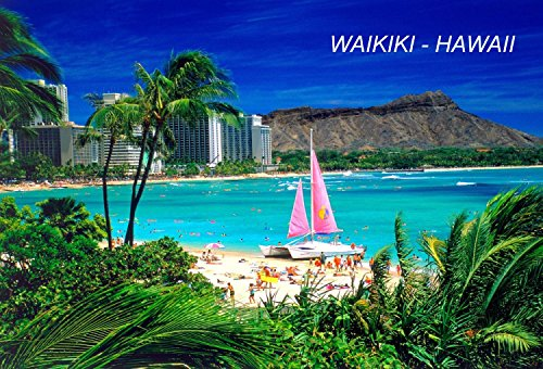 Hawaii USA United States Fridge Refrigerator Magnets (City: Waikiki #S2)