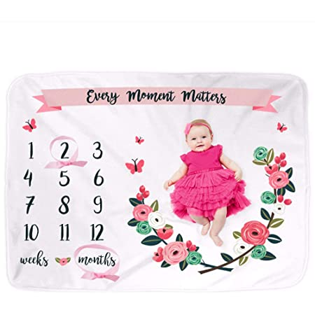 Personalized Baby Age Growth Track Growth and Age Geometric Florals Baby Milestone Blanket