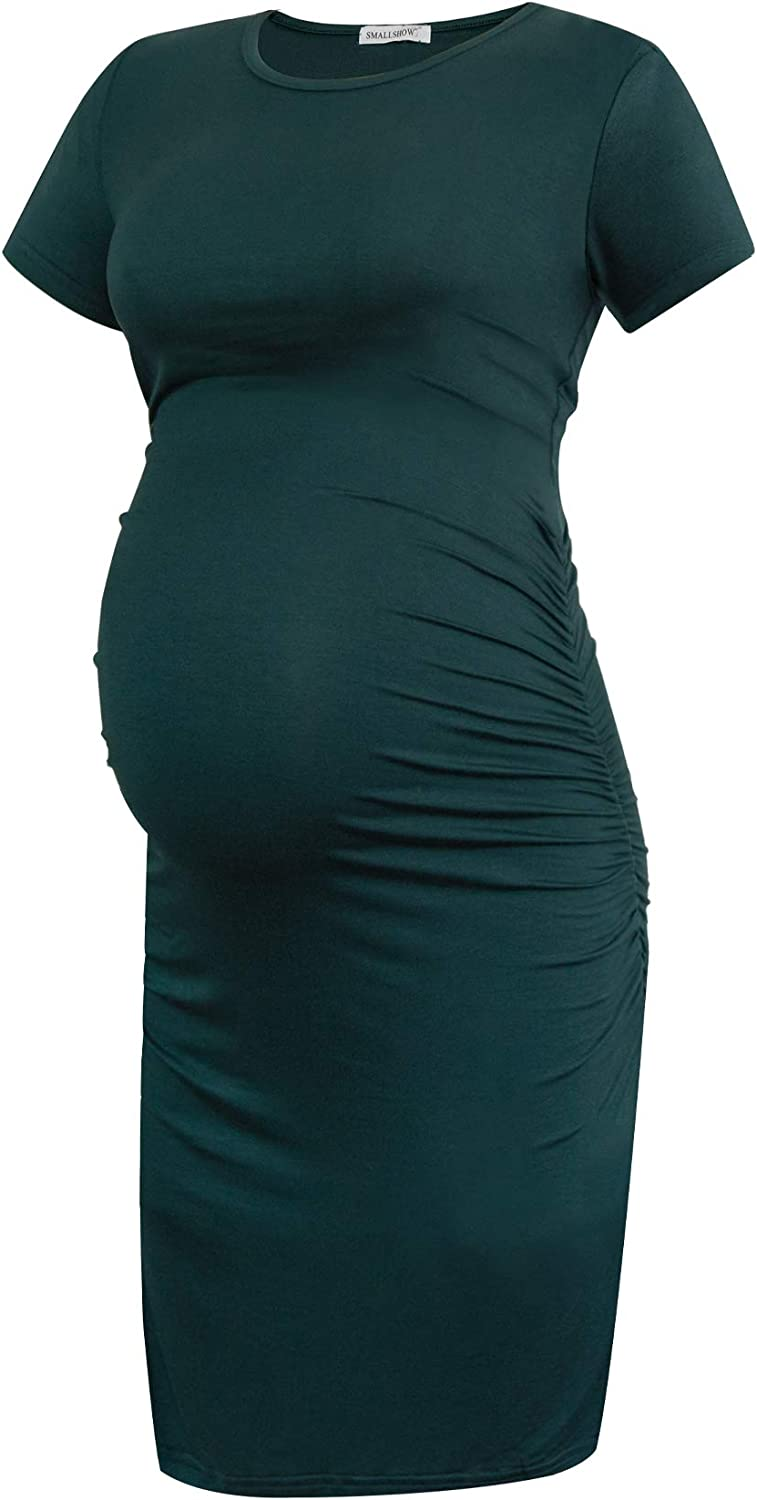 Smallshow Women's Short Sleeve Maternity Dress Ruched Pregnancy Clothes