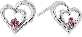 ESTELLE 10月生辰石 粉色电气石 K10 白金 心形图案 耳环 0222-6000-0019-0000