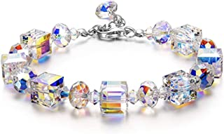 MXIN ♥ A Little Romance ♥ Sparkling Bracelet for Women with Aurore Boreale Crystals from Swarovski, Adjustable 7-9 Hypoall...