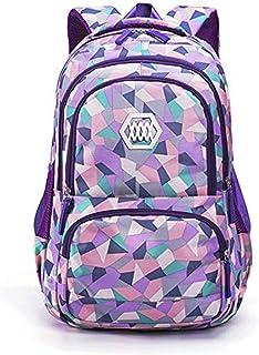Adanina Geometric Prints Primary School Student Satchel Backpack Boys Book Bag School Bag for Students