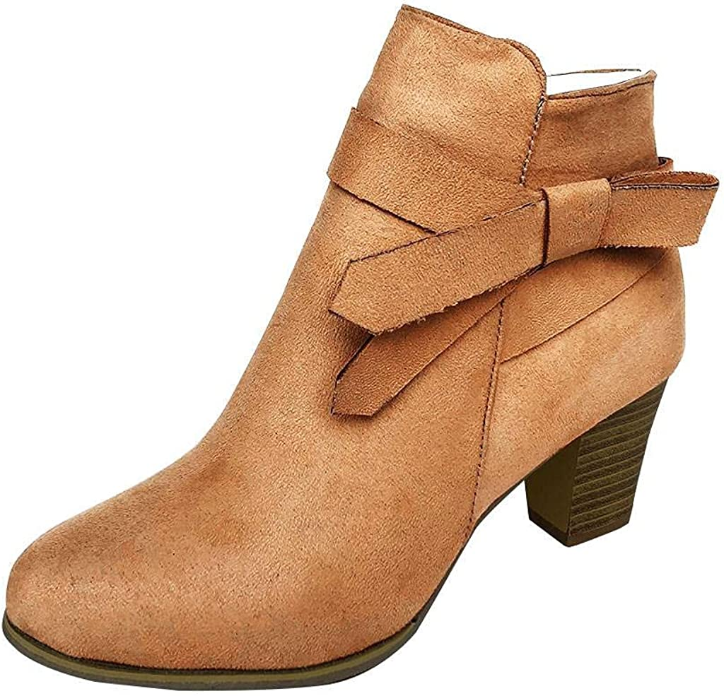 Gibobby Boots for Women Fashion Ankle Booties Tie Knot Short Boo