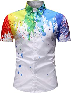 MIS1950s Men Novelty Tee Slim Fit Print Splash-Ink Short Sleeve Turn-Down Collar Muscle Casual Tops Blouse Sports Shirts