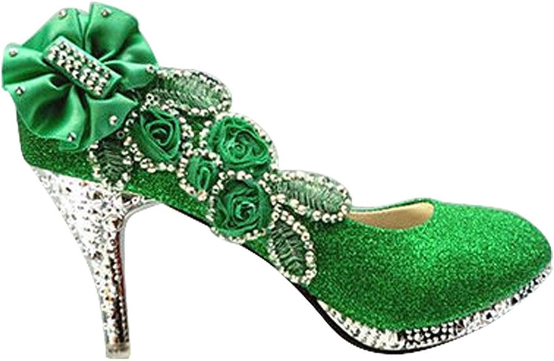 Quality.A Matte Stilettos Elegant shoes Round Toe Heels Flowers Rhinestones