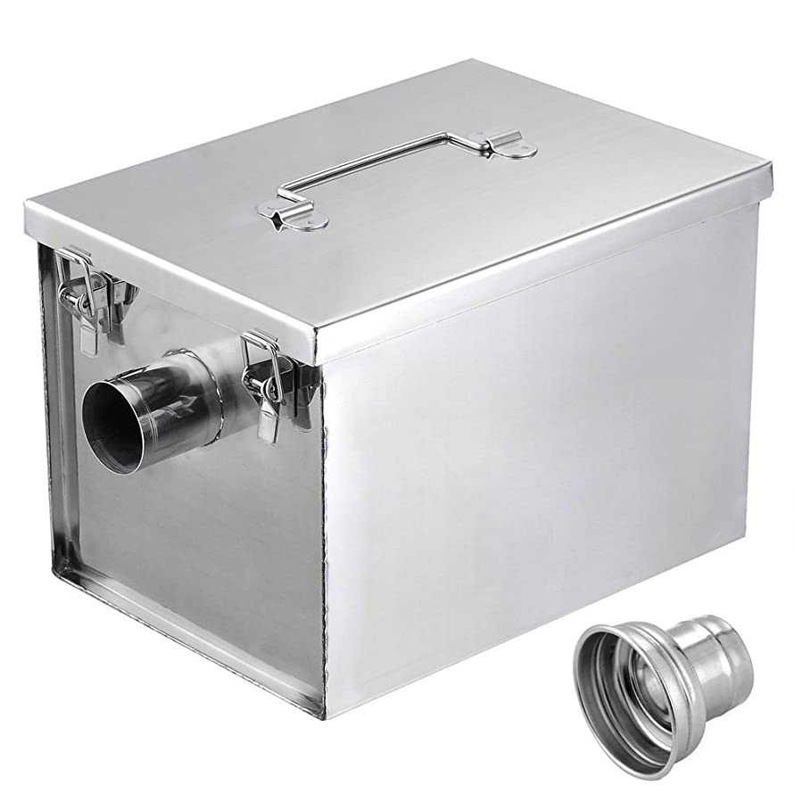 Generic YZ_740768YZ_7 5GPM Gallons al 5GPM Per Minute nute G Stainless Steel Interceptor Trap 8LB Commercial less S Grease Trap NV_1008004076-YZUS7