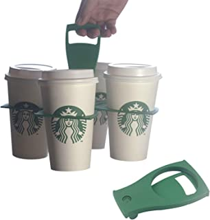 Reusable Drink Carrier for Delivery with Handle(Green) by Haushaeger - Portable Folding Coffee Cup Carrier – Collapsible Pocket-Sized 4 Cup Beverage Carrier