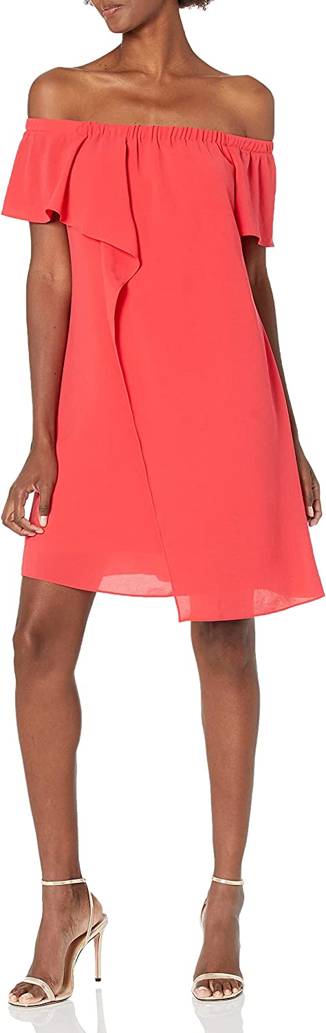 Adrianna Papell Women's Gauzy Crepe Off The-Shoulder Draped Dress