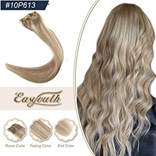 Easyouth 16inch Clip on Hair Extensions Human Hair Extensions Color 10 Highlights with 613 Blonde 100g 7Pcs per Set Silky Straight Hair Clip in Hair Extensions Clip Hair Full Head