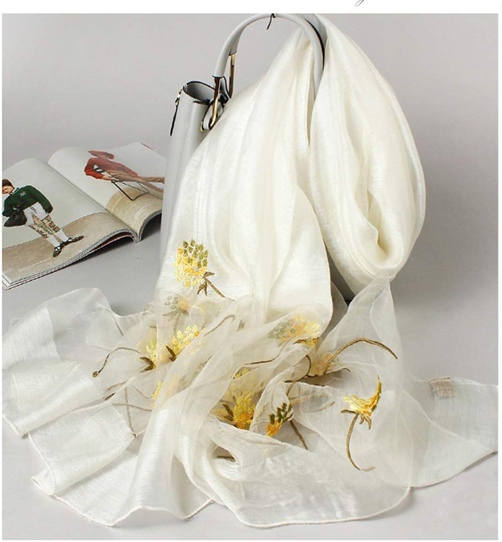JUN Women's Preferred Silk ThreeDimensional Embroidery Rectangular Scarf MultiFunction Shawl (color   CreamyWhite)