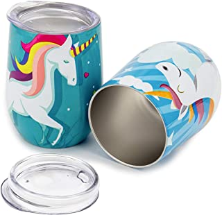 ANPHSIN Set of 2 Unicorn Stainless Steel Wine Tumbler with Lid - Unbreakable Insulated Stemless Wine Glasses 10 OZ