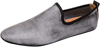 HaiNing Zheng Business Loafers for Men Driving Loafers Slip On Synthetic Leather Breathable Lightweight Walking Casual Pointed Toe (Color : Gray, Size : 8.5 UK)