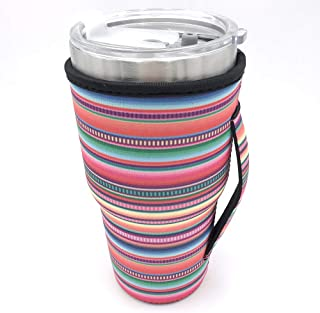 Reusable Iced Coffee Cup Sleeve Neoprene Insulated Sleeves Cup Cover Holder Idea for 30oz-32oz Tumbler Cup,Trenta Starbucks,Large Dunkin Donuts (Only Cup sleeves) (Rainbow)