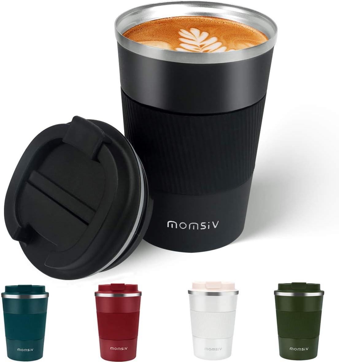 MOMSIV Taza de café, Termo cafe 380ml, Taza termo cafe para llevar de Acero Inoxidable, Tazas dTazas de viaje aisladas con tapa a prueba de fugas, tazas de café reutilizables, taza de café para coche