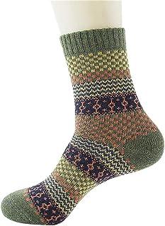 Calcetines gruesos de lana con cojín térmico para hombre, cálido, para invierno, cálidos, de lana de merino, con calcetines de invierno, de mezcla de lana cálida, para equitación verde verde