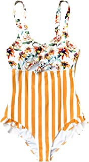 Women's Orange Floral Stripe Ruched Bust One Piece Swimsuit