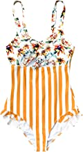 CUPSHE Women's Orange Floral Stripe Ruched Bust One Piece Swimsuit