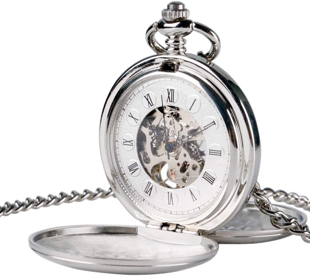 DBSCD Regalos Navidad,Reloj Bolsillo Steampunk Reloj Bolsillo Reloj Mujer Cuerda mecánica Mano Viento Suave Plata Colgante Blanco Esfera Simple Elegante