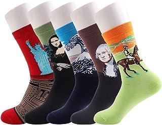 Richaa 5 pares de calcetines unisex divertidos, Crazy Fuzzy Famous Masterpiece Art Impreso Estampados Alta Casual Algodón ...