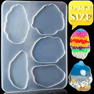 Large Creative Resin Mold, LEOBRO 1 Pack Epoxy Silicone Mold with 5 Large Size Irregular Patterns, Silicone Resin Mold for Making Coaster, Pendant, Bowl Mat