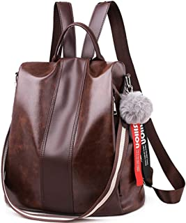PYFauDD Casual Travel Soft Leather Rucksack Detachable Covertible Ladies PU Leather Stylish Backpack Purse Waterproof Nylon Anti-Theft Shoulder Bag Leisure Travel (Color : Brown)
