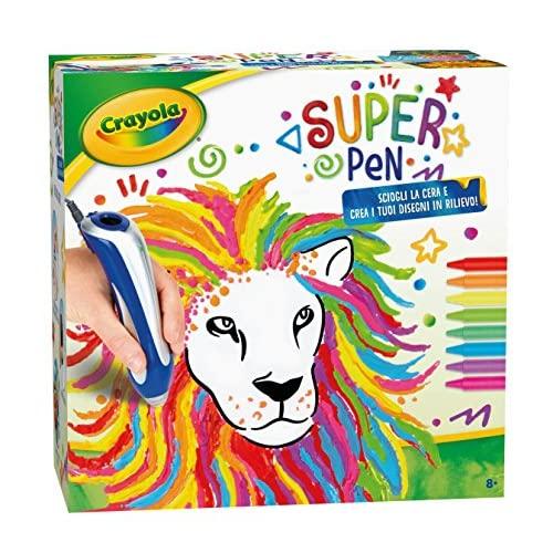 CRAYOLA- Super Pen Sciogliere i Pastelli a Cera e Creare Disegni in Rilievo, Multicolore, 25-0384