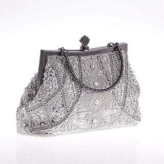 TWTAI Vintage Heavy Crafts All Handmade Beaded Embroidered Bag Evening Wear Portable Evening Bag Classic Cheongsam Perfect Match Bride Bag Bridesmaid Bag (Color : Silver)