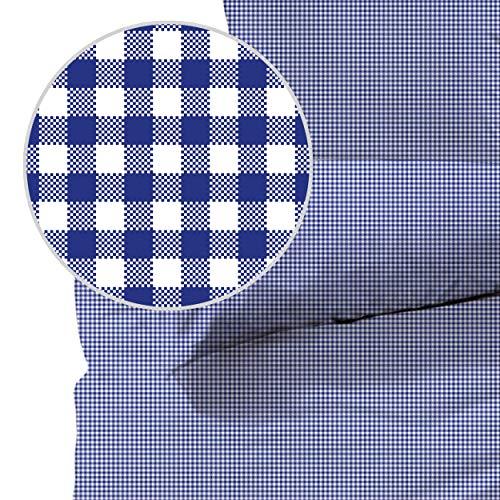 Seersucker Bettwäsche karo, Landhaus Blau, 100% Baumwolle, Bügelfrei, 155 x 220cm + 80 x 80cm, mit YKK-Qualitätsreißverschluss, kariert