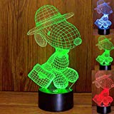 Snoopy Lamp 3D Optical Illusion Snoopy LED Nightlight Touch Switch Snoopy Desk Lamp with 7 Changing Colors, Acrylic Flat Lamp with USB Charger or Battery Base for Room Decoration or Festival Gifts