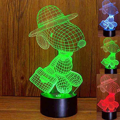 Elstey 3D Snoopy Lampe Nachtlicht Touch-Tisch-Lampe, 7 Farbwechsel-Lichter mit Acryl-Flach- & ABS-Sockel & USB-Ladegerät