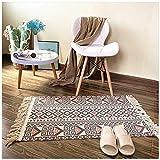 FSQY Baumwolle Quaste Home Woven Teppich Willkommens-Matten Schlafzimmer Arbeitszimmer Teppich Gebet Matratze 70x160cm 09