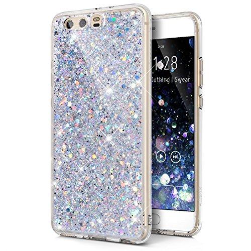 Kompatibel mit Huawei P10 Plus Hülle,Huawei P10 Plus Schutzhülle,Kristall Bling Glänzend Glitzer Kristall Strass Diamant TPU Silikon Hülle Handyhülle Crystal Schutzhülle für Huawei P10 Plus,Silber