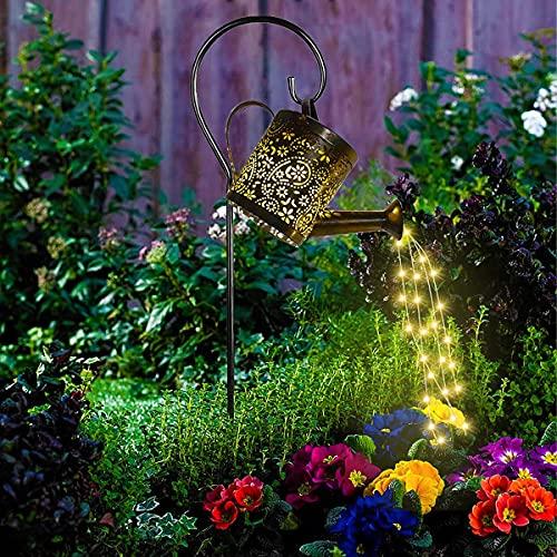 Gießkanne mit Lichterkette Außen, Gartendeko Solar Lichterketten Aussen, Star Shower Garten Leuchten, lichterketten für aussen, Garten Gießkanne Lichter Dekoration