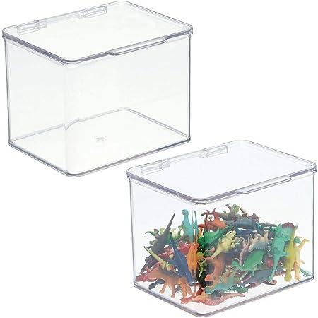 mDesign boîte de rangement pour jouets – boîte en plastique robuste empilable avec couvercle intégré – casier de rangement enfants pour jouets et ustensiles de bricolage – lot de 2 – transparent