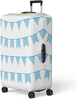 Pinbeam Luggage Cover Oktoberfest Buntings for Garland of Bavarian Checkered Blue Travel Suitcase Cover Protector Baggage Case Fits 26-28 inches