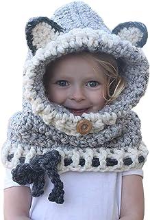 Locisne Hiver Chaud Capuche Foulards Chapeau Coif Earflap Tricoté Laine Châles Face Cover Balaclava pour Bébé Enfants Fill...